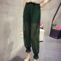 Narrow Mesh Elastic Waist See Through Casual Trouser - Green