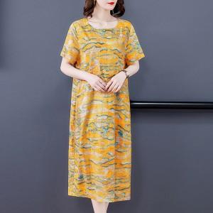 Straight Duo Pocket Round Neck Midi Length Dress - Yellow