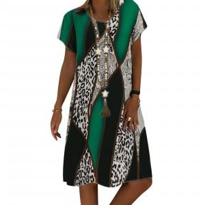 Round Neck Short Sleeves Digital Printed Mini Dress - Green