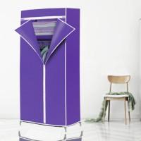 Elegant Color Fancy Zipper Closure Canvas Wardrobe - Purple