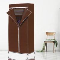 Elegant Color Fancy Zipper Closure Canvas Wardrobe - Brown