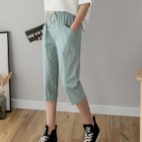 String Closure Elastic Waist Vintage Style Short Pants - Green