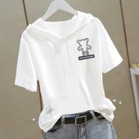 Hoodie Neck Short Sleeves Decorative Summer T-Shirt - White