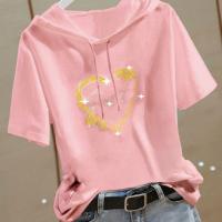 Hoodie Neck Short Sleeves Decorative Summer T-Shirt - Pink