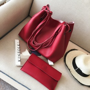 2 Pcs Set Women Litchi Pattern Large Capacity One Shoulder Bag - Red