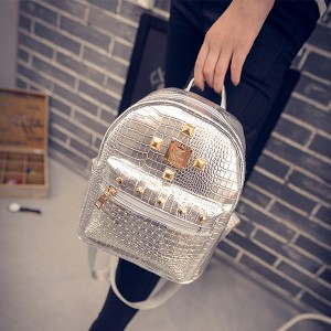 Synthetic Mesh Leather Luxury Fashion Backpack - Silver