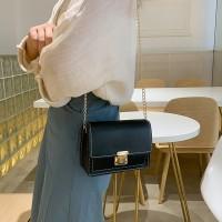 Synthetic Leather Contrast Color Women Shoulder Bag - Black