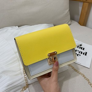 Synthetic Leather Contrast Color Women Shoulder Bag - Yellow