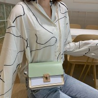 Synthetic Leather Contrast Color Women Shoulder Bag - Green
