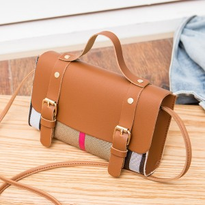 Synthetic Leather Striped Cross Border Women Shoulder Bag - Brown