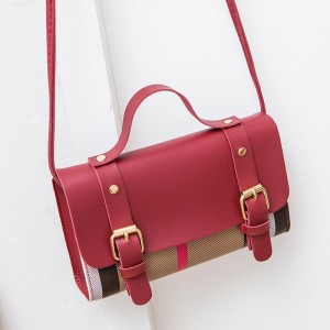 Synthetic Leather Striped Cross Border Women Shoulder Bag - Red