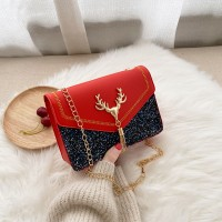 Synthetic Leather Frosted Sequin Glitter Women Shoulder Bag - Red
