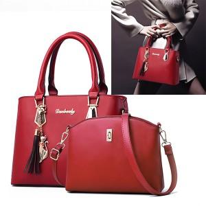 2 Pcs Double Size One Shoulder Handbags - Wine Red