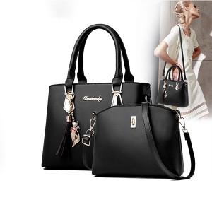 2 Pcs Double Size One Shoulder Handbags - Black