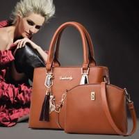 2 Pcs Double Size One Shoulder Handbags - Brown