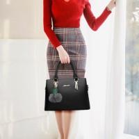 Stylish Double Hand Tote Slung Bag - Black