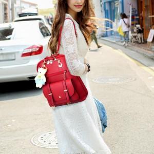 New Trend Casual Backpack Shoulder Bag - Red
