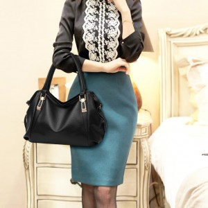 High Quality Handbag PU Leather Bag - Black