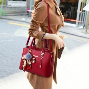 Fashion Large Capacity Stylish Shoulder Handbags - Wine Red