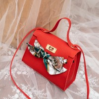 Synthetic Leather Lychee Pattern Personalized Lock Women Messenger Bag - Red