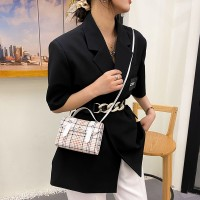 Synthetic Leather Plaid Printing Magnetic Buckle Women Shoulder Bag - White