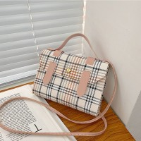 Synthetic Leather Plaid Printing Magnetic Buckle Women Shoulder Bag - Pink