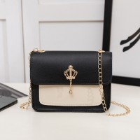 Synthetic Leather Chain Strap Women Shoulder Bag - Black