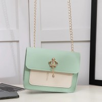 Synthetic Leather Chain Strap Women Shoulder Bag - Green
