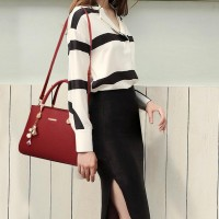 Top Handle Satchel Tote Shoulder Bag - Wine Red