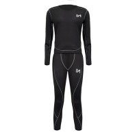 Two Pieces Round Neck Sports Wear Suit For Women - Black