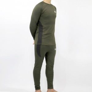 Round Neck Full Sleeves Comfy Wear Two Pieces Men Suit - Army Green