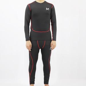 Geometric Lines Prints Two Pieces Sports Wear Men Suit - Black