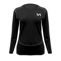 Round Neck Long Sleeved Casual Wear T-Shirt - Black