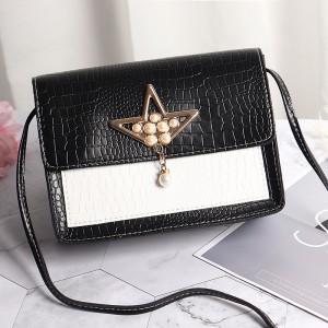 Synthetic Leather Pearls Design Women Shoulder Bag - Black