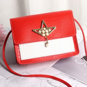 Synthetic Leather Pearls Design Women Shoulder Bag - Red