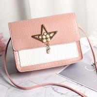 Synthetic Leather Pearls Design Women Shoulder Bag - Pink