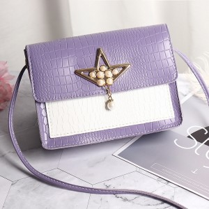 Synthetic Leather Pearls Design Women Shoulder Bag - Purple