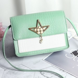 Synthetic Leather Pearls Design Women Shoulder Bag - Green