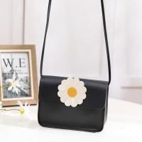 Synthetic Leather Magnetic Lock Women Messenger Bag - Black