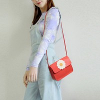 Synthetic Leather Magnetic Lock Women Messenger Bag - Red
