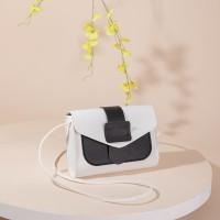 Synthetic Leather Magnetic strap Lock Women Messenger Bag - Black