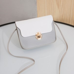 Synthetic Leather Solid Color Magnetic strap Lock Women Shoulder Bag - Gray
