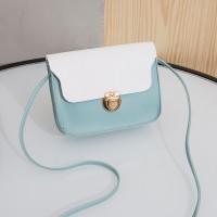 Synthetic Leather Solid Color Magnetic strap Lock Women Shoulder Bag - Sky Blue