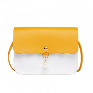 Synthetic Leather Pearls Decoration Lock Women One Shoulder Bag - Yellow