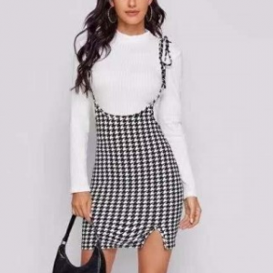 Check Print String Knot Body Fitted Skirt - Black and White
