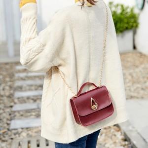 PU Leather Luxury Fashion Women Messenger Bag - Wine Red