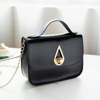 PU Leather Luxury Fashion Women Messenger Bag - Black