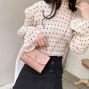 Synthetic Leather Geometric Fashion Women Messenger Shoulder Bag - Pink