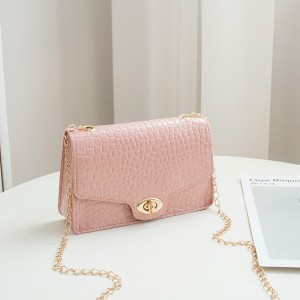 Synthetic Leather Crocodile Pattern Women Messenger Bag - Pink