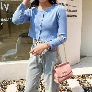 Synthetic Leather Crocodile Pattern Luxury Color Women Shoulder Bag - Pink